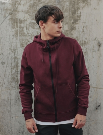 Толстовка Staff zip bordo basic fleece