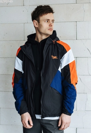 Ветровка Staff light colorblock black & orange