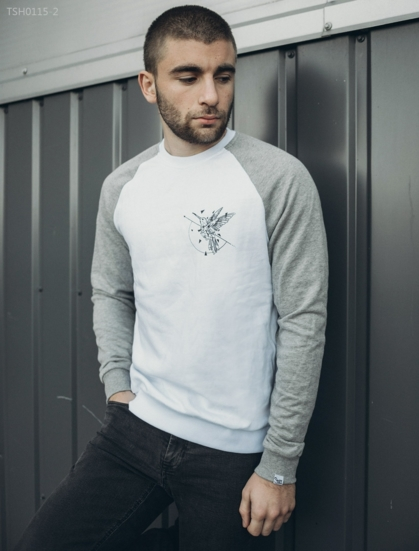 Свитшот Staff bird white and gray  fleece