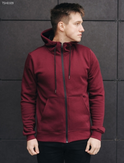 Толстовка Staff bordo zipper basic fleece