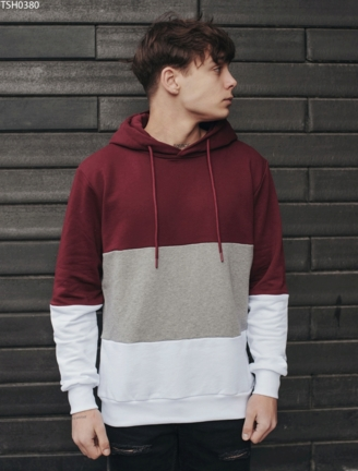 Толстовка Colorblock white & bordo
