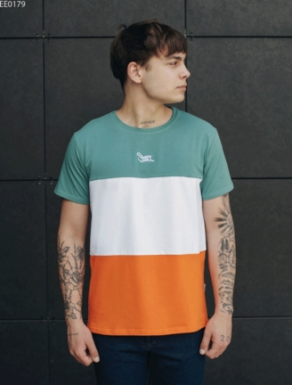 Футболка Staff colorblock green & orange