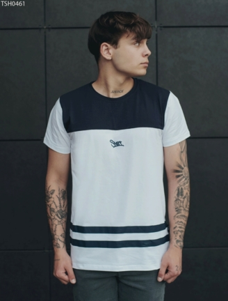 Футболка Staff white & navy line